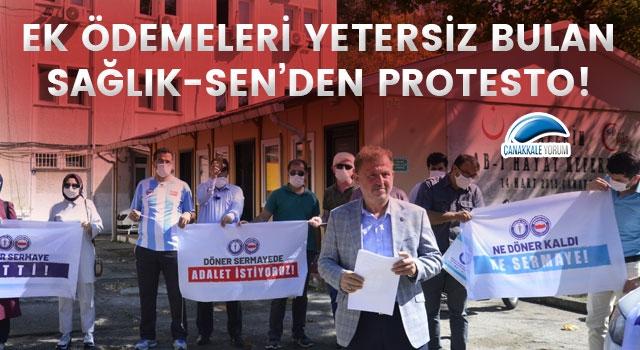 Ek ödemeleri yetersiz bulan Sağlık-Sen'den protesto!