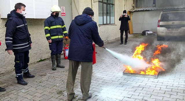 Biga İtfaiyesi'nden yangın tatbikatı