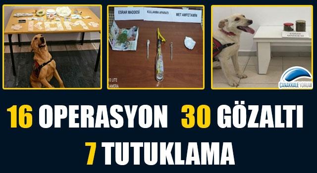 Çanakkale'nin son 1 aylık uyuşturucu raporu: 16 operasyon, 30 gözaltı, 7 tutuklama