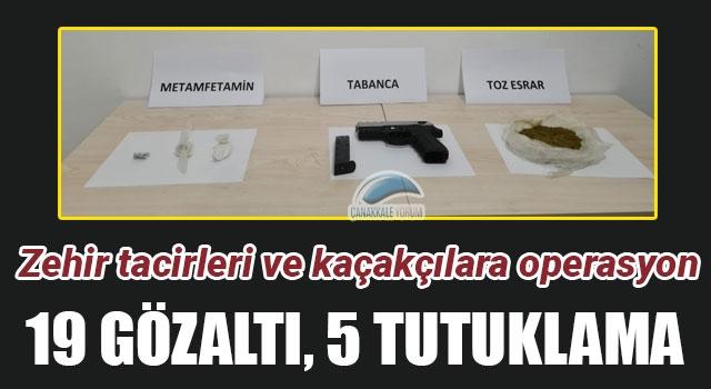 Zehir tacirleri ve kaçakçılara operasyon: 19 gözaltı, 5 tutuklama