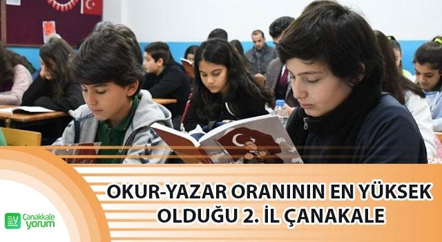 Türkiye'de okur-yazar oranının en yüksek olduğu 2. il Çanakkale