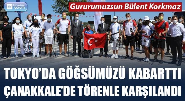 Türkiye'yi Tokyo'da gururlandırdı, Çanakkale'de törenle karşılandı