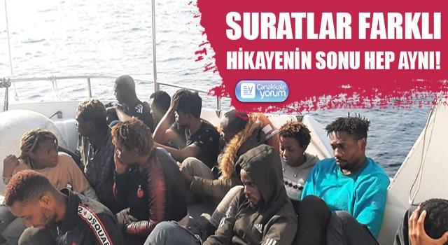 Ayvacık açıklarında 14 düzensiz göçmen yakalandı!
