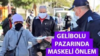 Gelibolu pazarında maskeli önlem