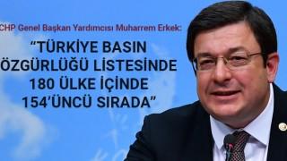 """Muharrem Erkek: """"Türkiye basın özgürlüğü listesinde 180 ülke içinde 154'üncü sırada"""""""