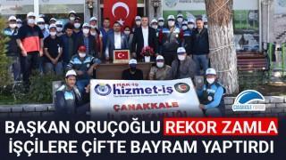 Başkan Oruçoğlu rekor zamla işçilere çifte bayram yaptırdı
