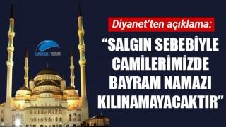 """Diyanet: """"Salgın sebebiyle camilerimizde bayram namazı kılınamayacaktır"""""""