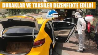 Duraklar ve taksiler dezenfekte edildi