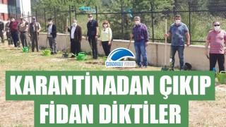 Karantinadan çıkan misafirler için Çanakkale Kız Yurdu bahçesine fidan dikildi