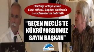 """Haklılığı ortaya çıkan Esra Yüksel, Başkan Gökhan'a o suçlamalarını hatırlattı: """"Geçen Meclis'te kükrüyordunuz sayın başkan"""""""