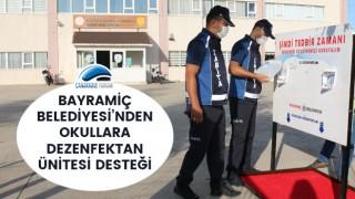 Bayramiç Belediyesi'nden okullara dezenfektan ünitesi desteği