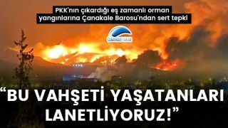 """PKK'nın çıkardığı eş zamanlı orman yangınlarına Çanakkale Barosu'ndan sert tepki: """"Bu vahşeti yaşatanları lanetliyoruz"""""""
