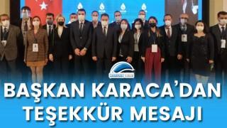 Başkan Karaca'dan teşekkür mesajı