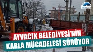 Ayvacık Belediyesi'nin karla mücadelesi sürüyor