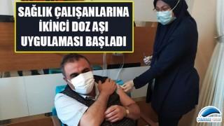 Çanakkale'de sağlık çalışanlarına ikinci doz aşı uygulaması başladı