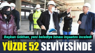 Başkan Gökhan yeni belediye binası inşaatını inceledi