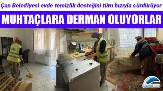 Çan Belediyesi evde temizlik desteği ile muhtaç vatandaşlara derman oluyor