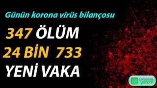 Günün korona virüs bilançosu: 347 ölüm, 24 bin 733 yeni vaka