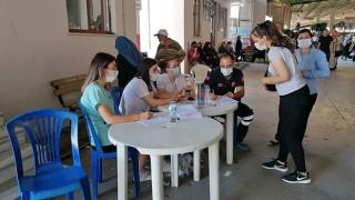 Çan'da kapalı pazar yerinde aşı noktası kuruldu