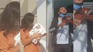 Çanakkaleli Göksel bebekten iyi haber: Müzisyen babası kemanla taburcu etti