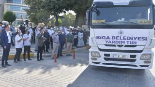 Biga Belediyesi'nden yangın bölgesine yardım tırı